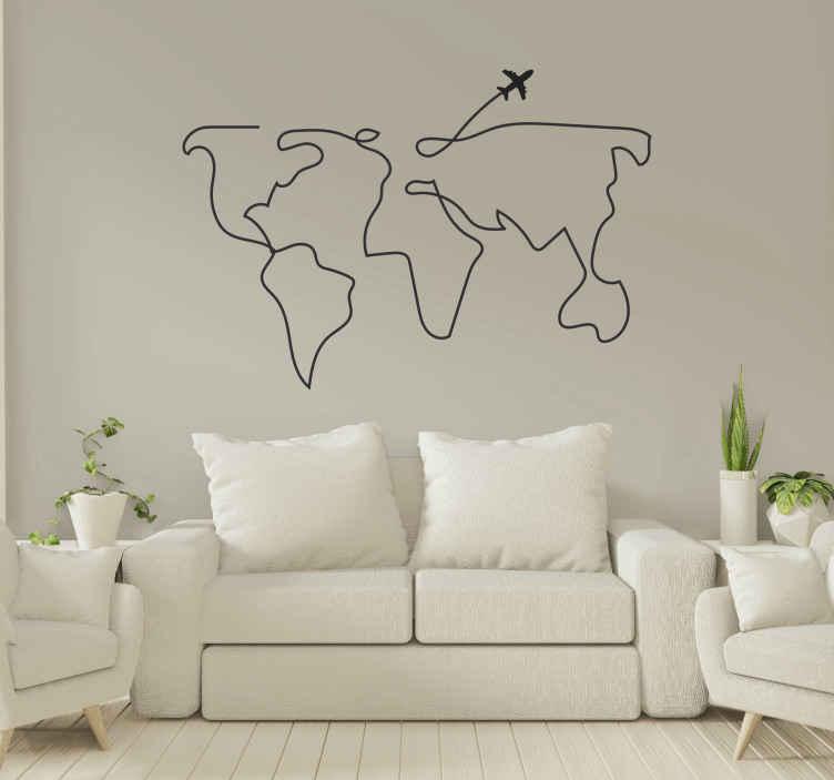 TENSTICKERS. 世界地図飛行機マップウォールステッカー. 非常にシンプルでわかりやすい世界地図のステッカー。リビングルーム、ベッドルーム、その他お好みのスペースに飾ることができます。