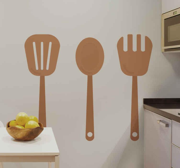 TENSTICKERS. キッチンウッドツールキッチンデカール. 木製調理カトラリーステッカーの美しいセット。テクスチャの外観は素晴らしく、壁の実際のツールと間違える可能性があります。