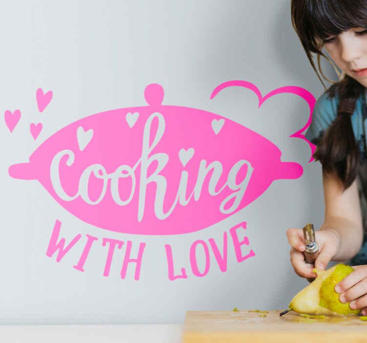 TENSTICKERS. シェフクッキングデザインキッチンステッカー. 調理器具の装飾的なキッチンステッカーと「愛を込めて調理する」と書かれたテキストの碑文。色をカスタマイズでき、簡単に適用できます。