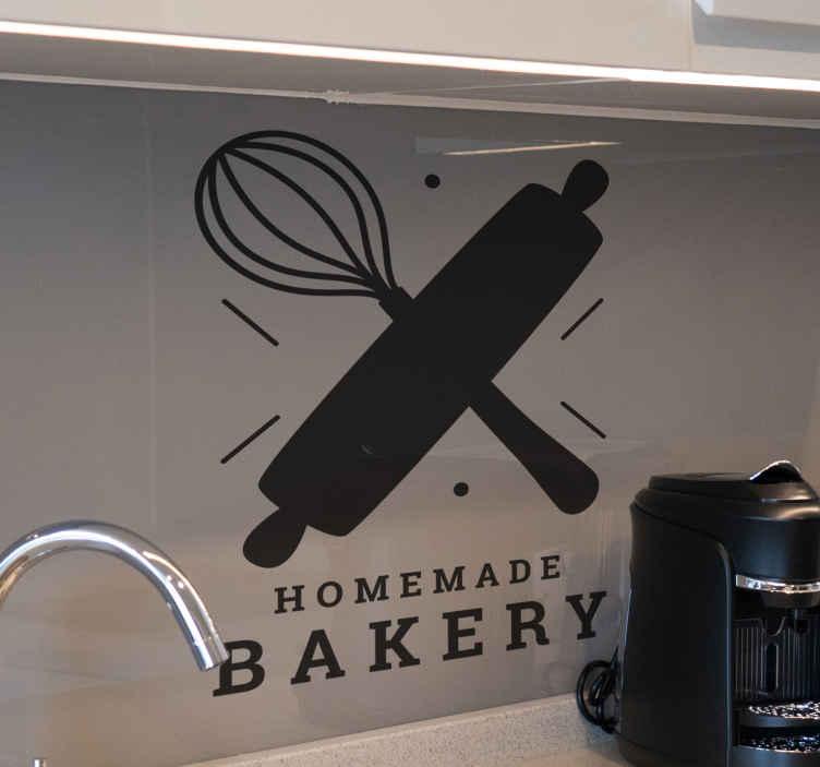 TenStickers. Adesivo autocolante para Cozinha Monocolor de padaria caseira. Uma bela maneira de decorar sua cozinha com este autocolante de confeitaria artesanal de alta qualidade. Maravilhosa e moderna procure sua casa!