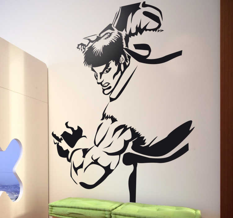 TenStickers. Sticker enfant Ryu Street Fighter. Stickers pour enfant illustrant Ryu, un des combattants Street Fighter, la saga de Capcom. Super idée déco pour la chambre d'enfant.