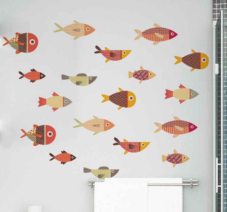 TenVinilo. Vinilo de animales pack peces coloridos. Vinilo de peces redondos de colores para decorar el cuarto de tu hijo. Elige las medidas que desees y aplícalo cómo desees ¡Envío exprés!