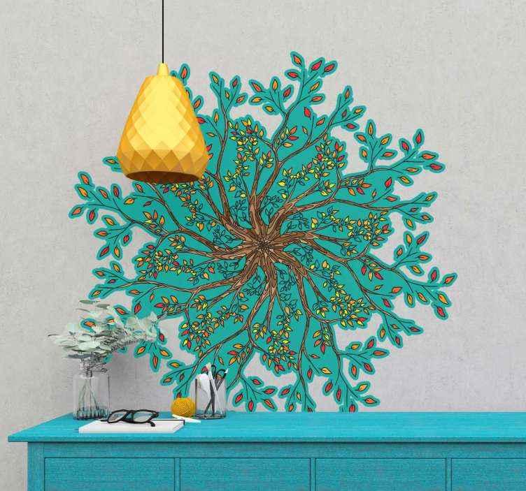 TenVinilo. Vinilo mandala pared forma árbol de la vida. Vinilo mandala pared de árbol de la vida perfecto para decorar tu salón o dormitorio. Crea un ambiente increíble en tu hogar ¡Envío exprés!