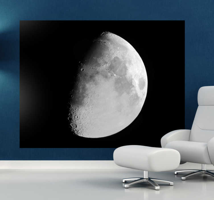 TenStickers. Mond Fototapete. Mit diesem Wandtattoo können Ihre Kinder einen genaueren Blick auf den Mond werfen.
