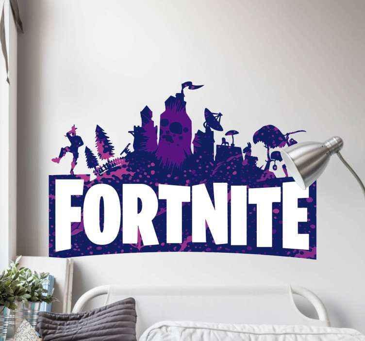 TenStickers. Sticker Mural Jeu Video Logo fortnite. Autocollant de jeu vidéo logo fortnite pour la décoration de la chambre des adolescents. Il peut être appliqué sur la salle de jeux de la maison et sur tout autre espace.