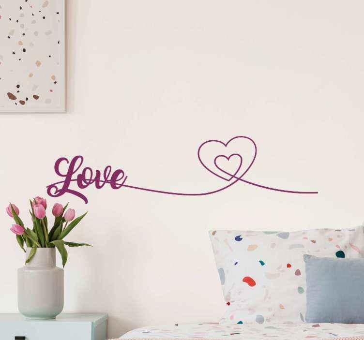 TENSTICKERS. ハートの愛のラインホーム引用ウォールステッカー. ハートホームテキストウォールステッカーとの愛のライン。平らな面のためのきれいな装飾。デザインは壁、家具、鏡、窓などに適用できます。