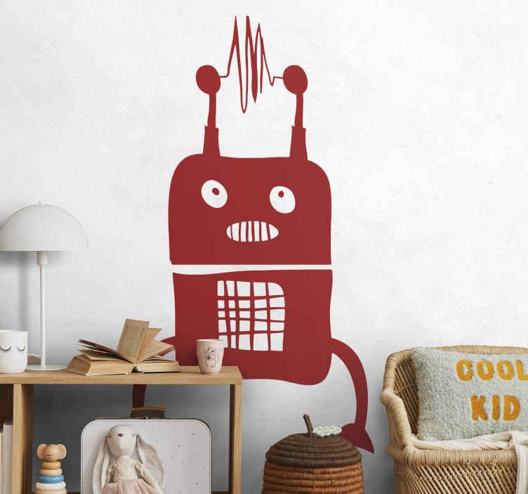 TenStickers. Robot mimozemské nástěnné nálepky. Budete ohromeni nálepkou cizince, která je také robotem pro pokoj vašich dětí! Je čas na revizi vaší současné výzdoby interiéru.