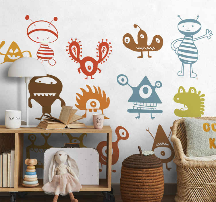 TenStickers. Kids Alien Gang Stickers. Kids Wall Stickers - Collection of aliens and friendly monsters to invade the bedrooms and play areas of children. Playful and fun designs.
