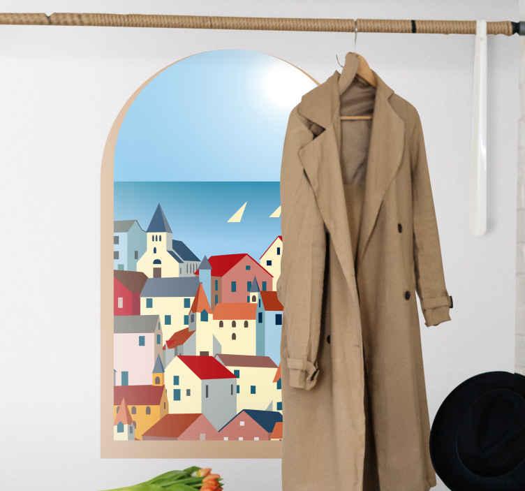 TenVinilo. Vinilo pared 3D ventana con vistas a Grecia dibujado. Vinilo paisajes 3d con vistas a pueblo griego dibujado para que llenes tu casa de luminosidad y la decores a tu gusto. Elige medidas ¡Compra online!