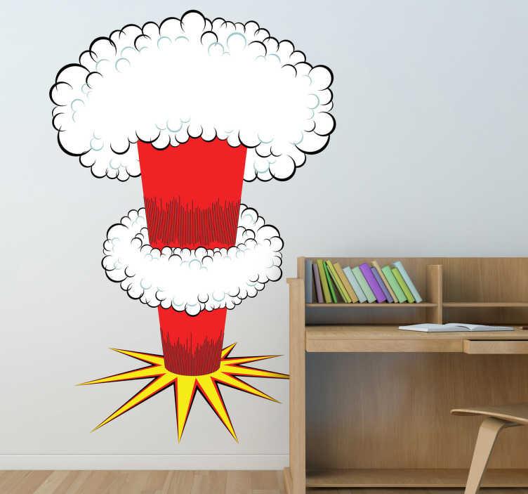 TenStickers. Karikatura jaderné výbušné nálepky na stěnu pro dítě. Objevte tuto novou nálepku výbuchu karikatury pro jadernou bombu pro stěny vašich dětí. Dovolte si redecorate. Fast delivery.