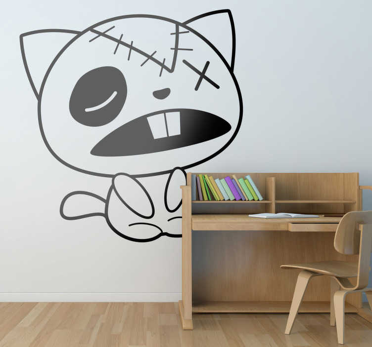 TenStickers. Cloth Cat Wall Sticker. Wall Stickers - Playful illustration of a cat with two front teeth. Ideal for decorating areas for kids. Available in various sizes.
