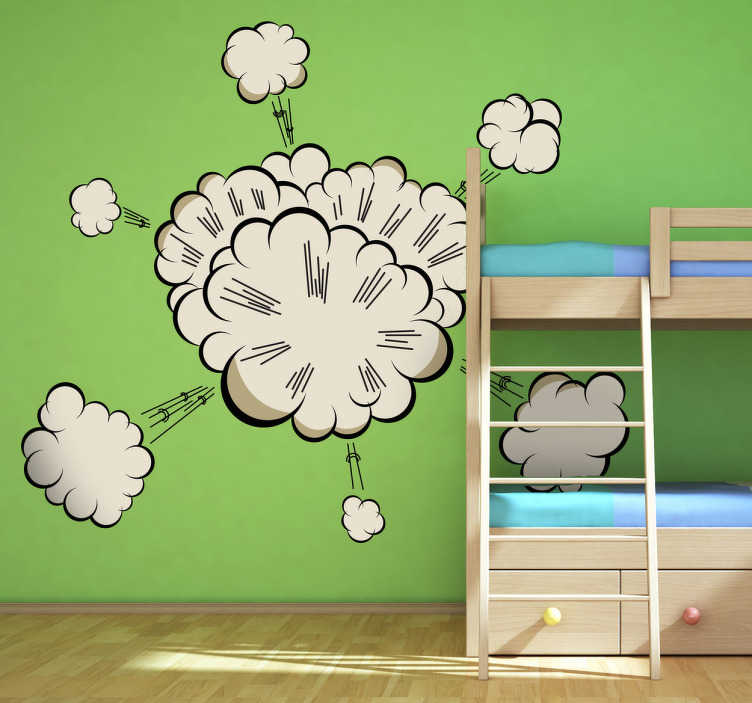 TenStickers. Smoke Blast Wall Sticker. Ideal smoke decal for the enjoyment of your children's play time in their playrooms. Great kids sticker to create a fun and cheerful environment.