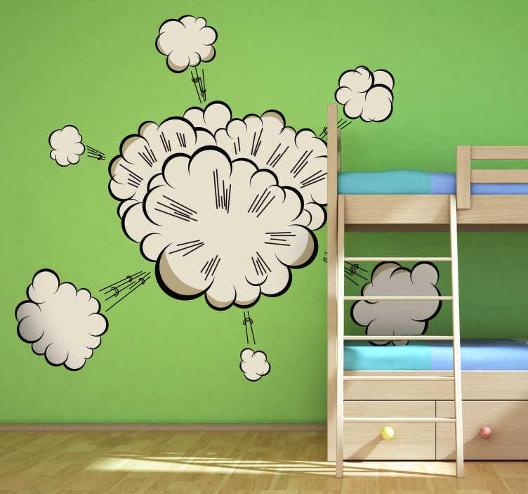TenStickers. Wandtattoo Kinderzimmer Comic-wolke. Dekorieren Sie das Kinderzimmer mit diesem Wandtattoo einer Comic-artigen Wolke.