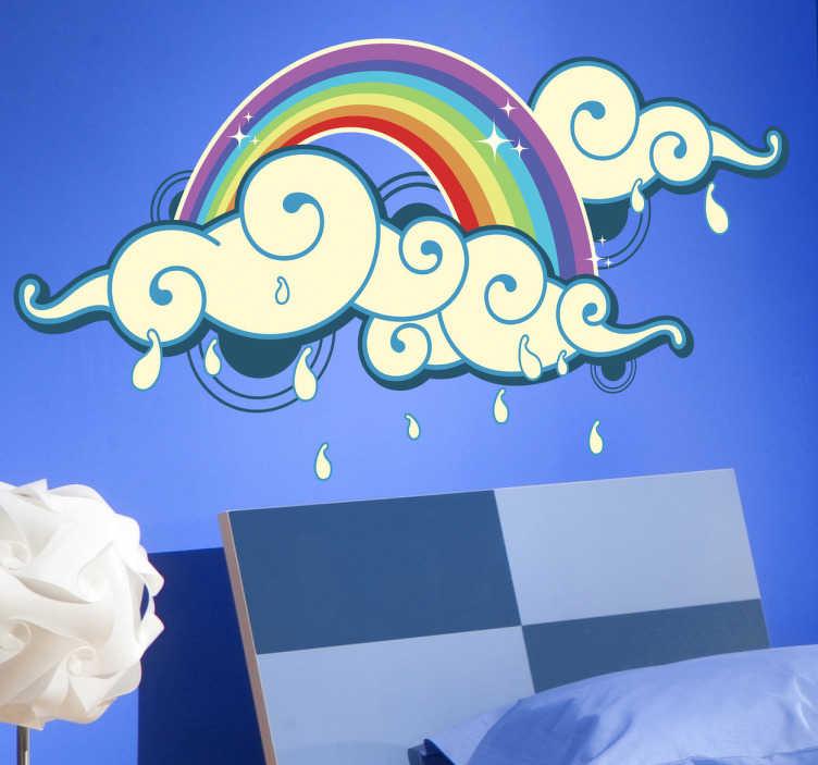 TenStickers. Naklejka chmury z tęczą. Naklejka na ścianę przedstawiająca chmury deszczowe z kolorową tęczą. Ładna naklejka do pokoju dziecięcego, którą możesz umieścić na każdej, gładkiej powierzchni.