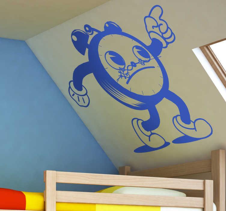 TenStickers. Klok wekker sticker. Deze muursticker heeft leuke klok met een leuk gezichtje en de wijzers zijn zijn snorretje! Leuk voor in de kinderkamer!