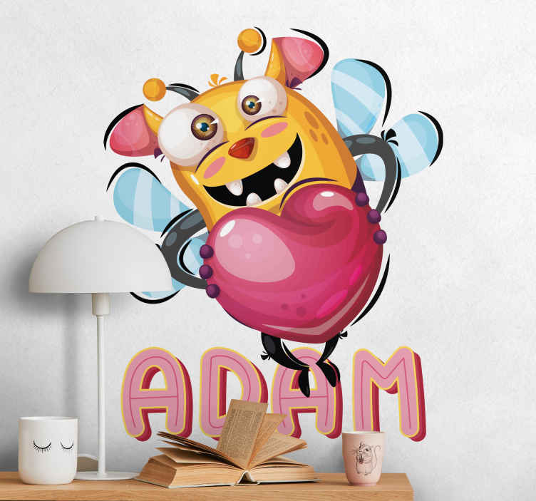 TenStickers. Wandtattoo Bienenmonster. Gestalten Sie das Kinderzimmer mit diesem lustigen Wandtattoo eines kleinen Bienen- Monsters.