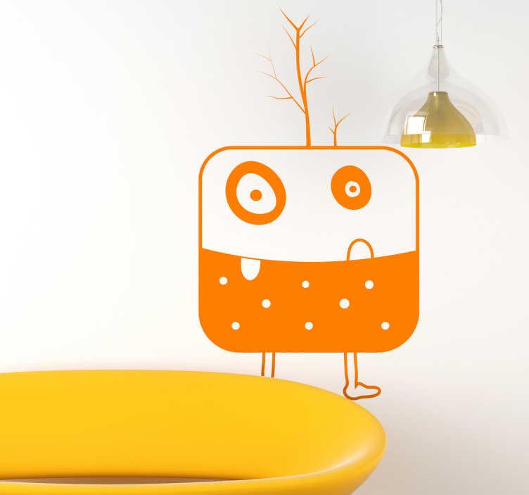 TenStickers. Wandtattoo Kinderzimmer abstraktes Monster. Wandtattoo - grimmig dreinblickende Monster mit den schiefen Zähnen und einem Baum auf den Kopf, wertet jede Wand auf