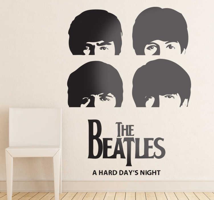 TenVinilo. Vinilo decorativo cabezas Beatles. Adhesivo con la fotografía clásica de los cuatro de Liverpool de su disco A hard day's night.