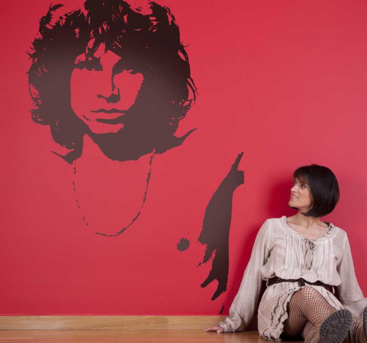 TenStickers. Sticker decorativo Jim Morrison. Adesivo murale raffigurante il noto cantante della band californiana The Doors. Dedicato ai fan della leggendaria band.