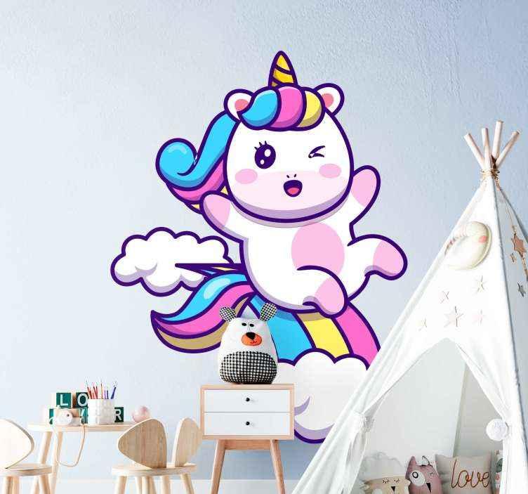 TenVinilo. Vinilo para niñas unicornio feliz tonos pastel. Vinilo de unicornio de colores y feliz con nubes. Diseño para decorar el cuarto de tu hija con un diseño original ¡Compra online!