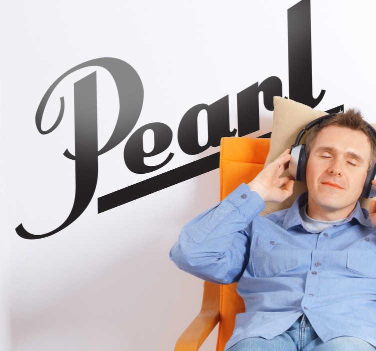 TenVinilo. Vinilo decorativo logo batería Pearl. Adhesivo con el logotipo de la famosa marca de instrumentos musicales de percusión que han tocado entre otros  Ringo Starr de The Beatles.