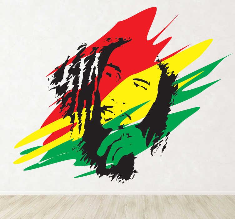 TenStickers. Sticker Bob Marley Jamaica. Een leuke muursticker van een schets van de wereldberoemde Reggae artiest uit Jamaica: Bob Marley.