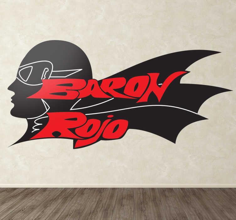 TenVinilo. Vinilo decorativo logo Barón Rojo. Pegatina con el característico logo de esta banda heavy clásica del metal español representada por un aviador alemán.