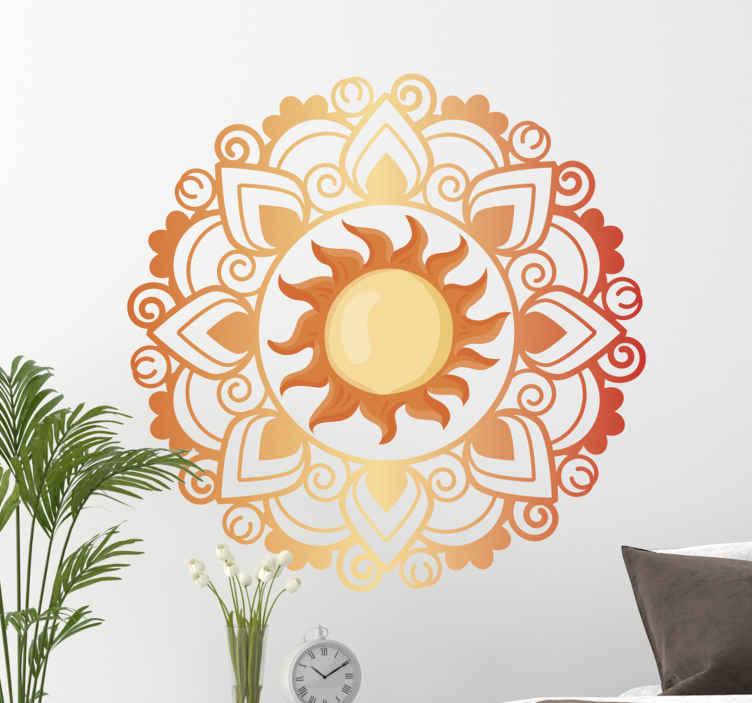 TENSTICKERS. サンマンダラフローラルウォールステッカー. 寝室、居間およびあなたの選択の他のスペースのための太陽曼荼羅花の壁のステッカーの装飾。適用が簡単で高品質です。
