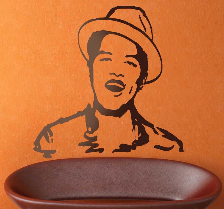 TenVinilo. Vinilo decorativo dibujo Bruno Mars. Recreación en vinilo del retrato de este exitoso cantante que aparece en uno de sus primeros video clips.