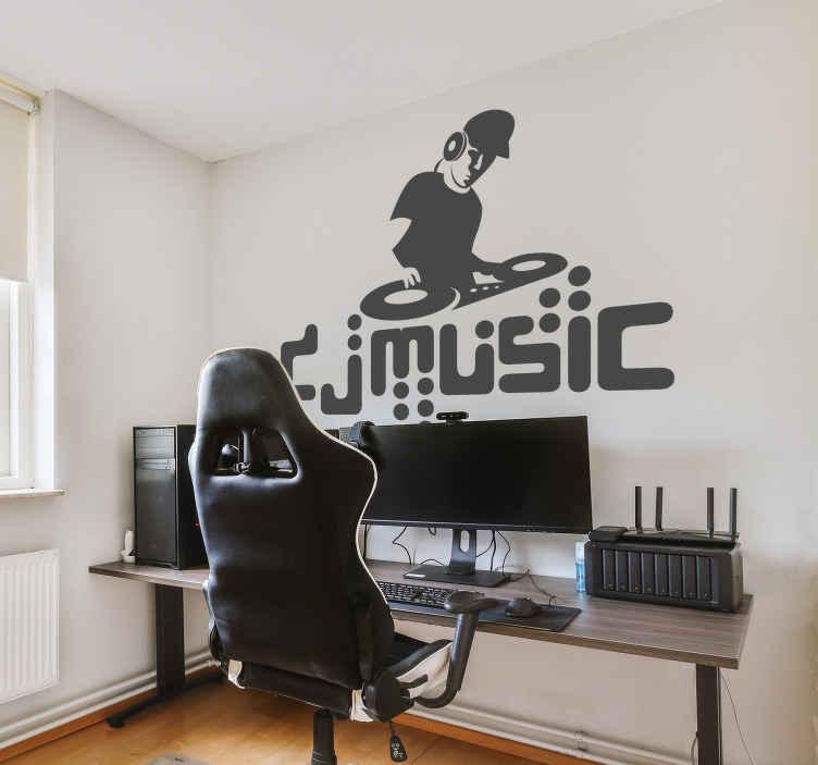 TenStickers. Dj 음악 벽 스티커. 그 큰 안타를 드롭 준비가 dj를 보여주는 단색 스티커! 이 음악 데칼은 음악을 좋아하거나 dj가되는 사람들에게 이상적입니다!