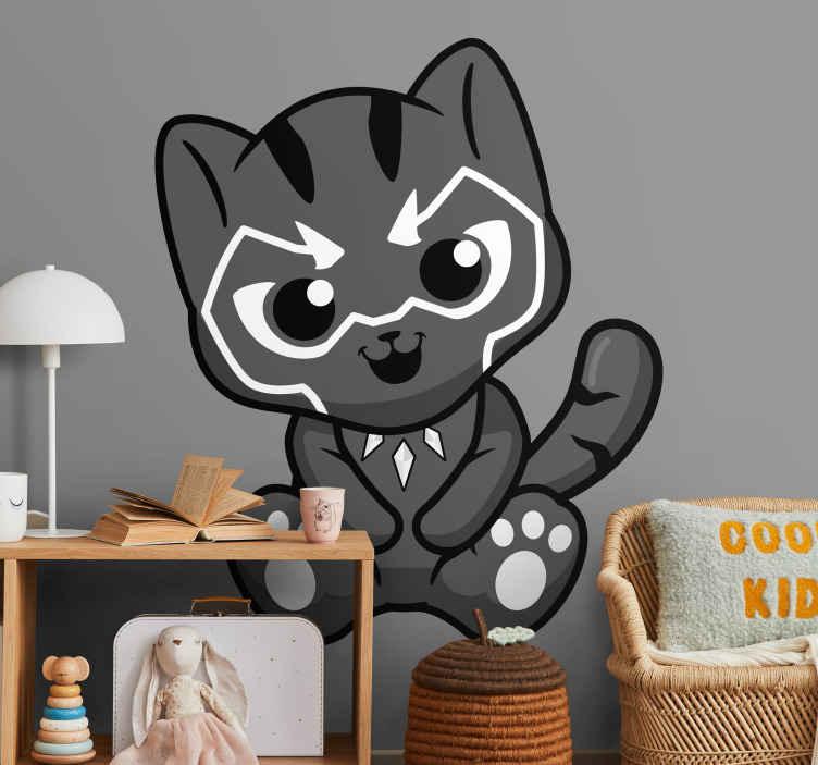 TenStickers. Vinilo infantil pantera. Autocolante infantil com uma pantera divertida. Ideal para a decoração do quarto infantil.