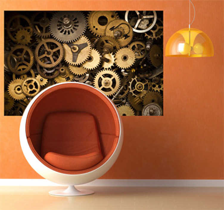 TenStickers. Gears Photography Wall Sticker. Wall Stickers - Photographic art with a mechanism theme. Ideal for adding an original touch to any space.