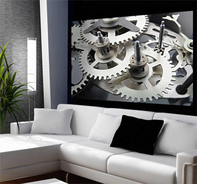 TenStickers. Naklejka dekoracyjna mechanizm 3. Naklejka dekoracyjna na ścianę przedstawiająca zdjęcie wielu kół zębatych.