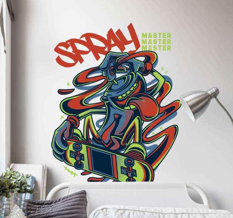 Aufkleber Set Graffiti Spray Im Skateboard Tenstickers