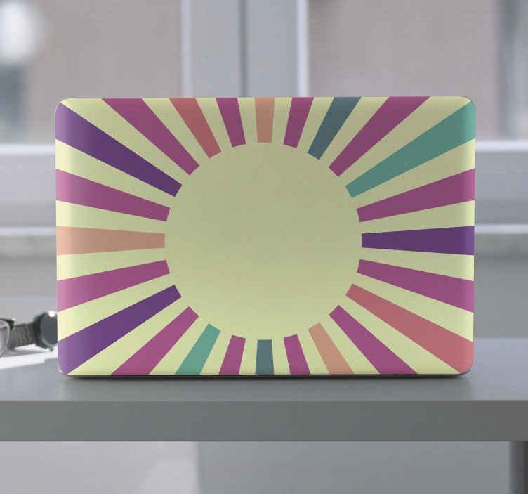TenVinilo. Vinilo para laptop sol geométrico de los 70. Vinilo para laptop con sol geométrico de los años 70 para decorar tu ordenador con un toque vintage. Elige modelo ¡Envío exprés!
