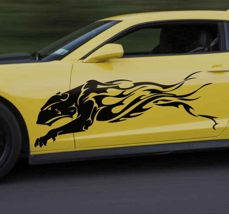 TenVinilo. Vinilo para coches león tribal corriendo. Vinilo para coches con león hembra corriendo ideal para decorar tu coche de carreras. Elige color y medidas ¡Envío exprés!