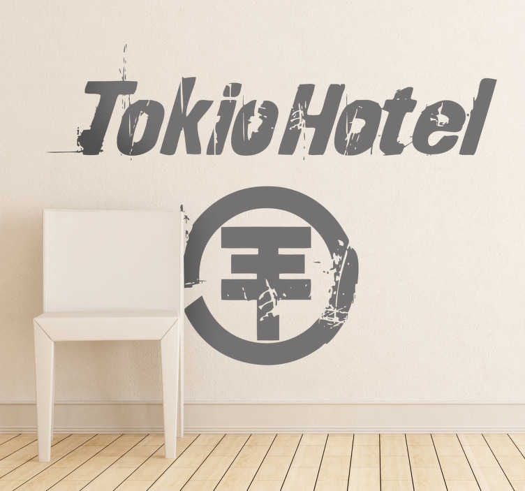 TenStickers. 东京酒店墙贴. 著名的德国乐队tokio hotel的精美音乐墙贴!用此单色贴花装饰您的卧室。