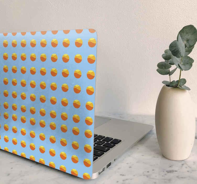 TenStickers. Stickers voor laptop Jaren 70 laptop met zonpatroon. Versier uw laptop met ons originele decoratieve laptop skin sticker ontwerp dat de zon illustreert. Het is gemakkelijk aan te brengen en gemaakt van vinyl van beatkwaliteit.