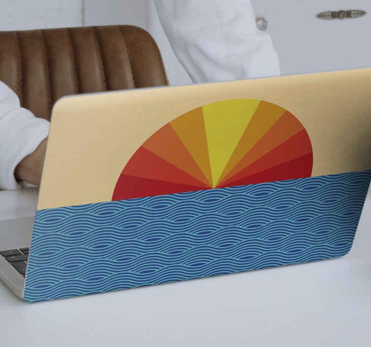 TENSTICKERS. ヴィンテージサンセットラップトップステッカー. 夕日の美しいイラストノートパソコンのステッカー。デザインは素敵で、あなたがそれを適用するときあなたは間違いなくあなたのラップトップでそれの外観を気に入るはずです。