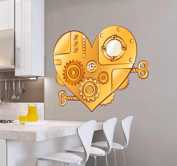 TenVinilo. Vinilo decorativo mecanismo. Murales y vinilos con la representación de un corazón mecánico de estilo streampunk.