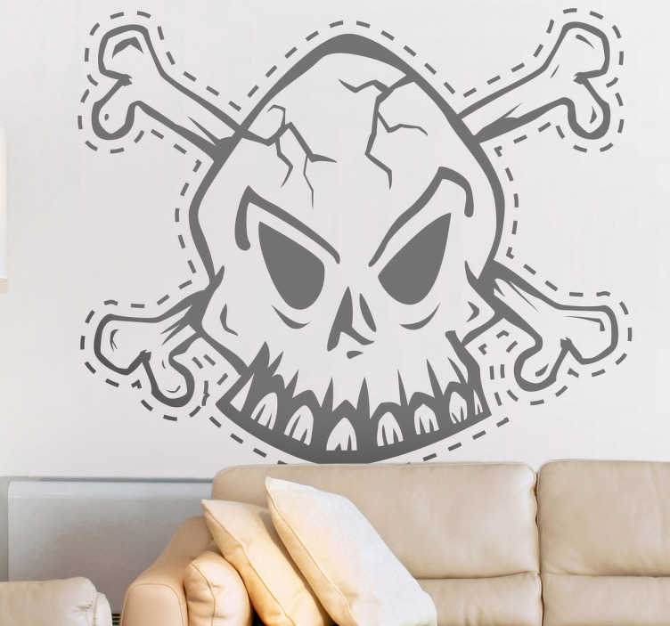 TenStickers. Skull Cut Line Decorative Sticker. A magnificent skull decal from our collection of pirate wall stickers! Are you planning a party for Halloween or any pirate themed party?