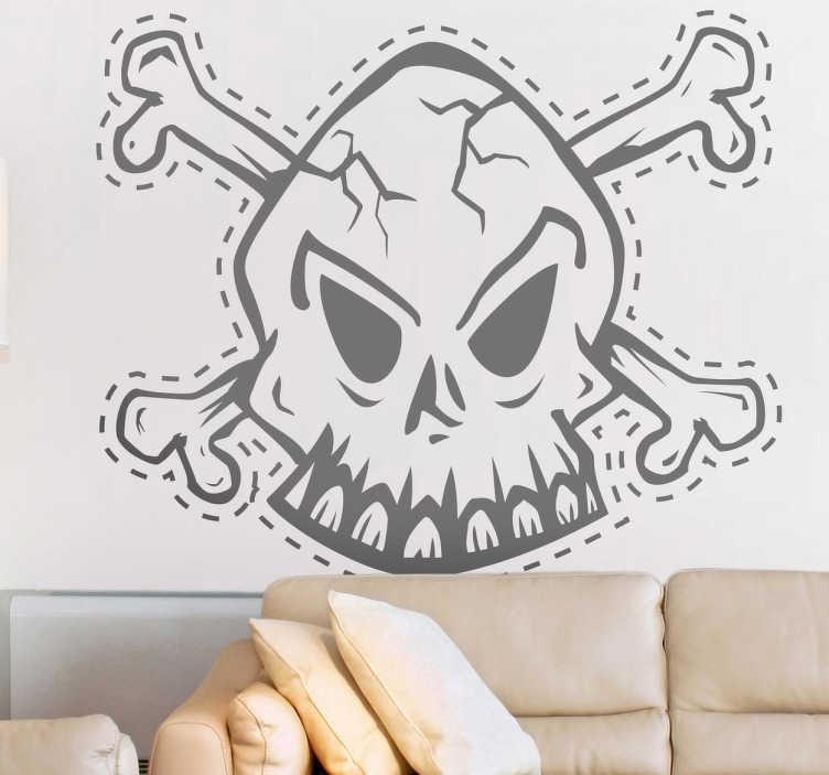 TenStickers. Naklejka dekoracyjna czaszka kreska. Posępna naklejka dekoracyjna, która przedstawia ludzką czaszkę na tle skrzyżowanych piszczeli.