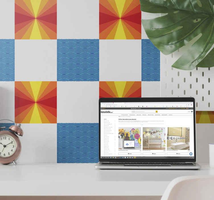 TENSTICKERS. ヴィンテージサンセットタイル転送. あなたの家を美しくするための装飾的なビンテージスタイルのタイルステッカー。デカールにはサンセットデザインとパターンデザインが含まれています。任意のサイズでご利用いただけます。