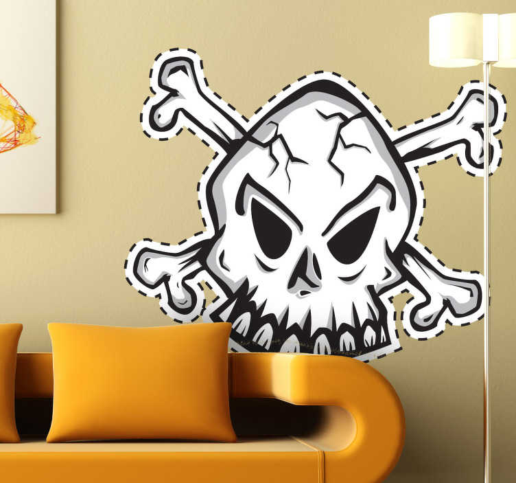 TenStickers. Naklejka dekoracyjna czaszka kolor. Naklejka dekoracyjna, która przedstawia posępną trupią czaszkę na tle skrzyżowanych piszczeli. Idealny emblemat dla małych piratów.