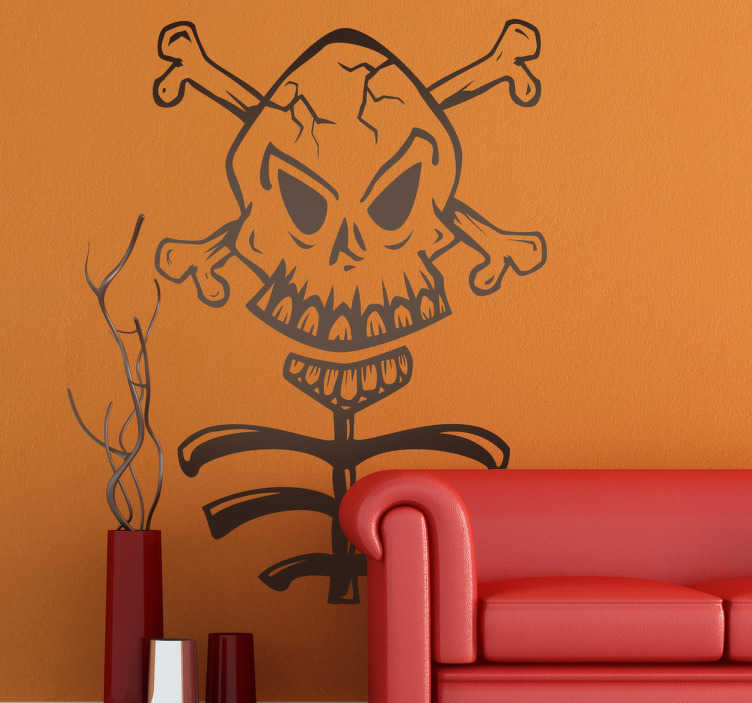 TenStickers. Skull and Ribs Sticker. A terrifying sticker of a skull and crossbones that are still attached to a skeleton. A decal that is perfect for Gothic style rooms.