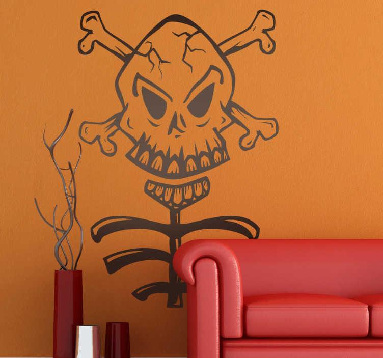 TenStickers. Adesivo caveira e costelas. Um autocolante de halloween aterrorizante de uma caveira e ossos cruzados que ainda estão presos a um esqueleto.