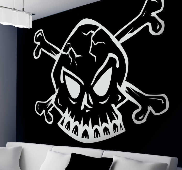 TenStickers. White Outline of Skull Sticker. A design of a skull, a very common pirate emblem. Fantastic skull from our pirate wall stickers collection.