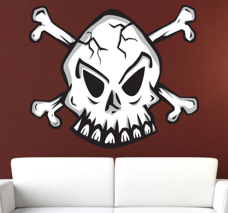 TenStickers. Cracked Skull Decorative Decal. This vinyl decal of a classic emblem of a skull is mainly recognized as the pirate symbol. A design from our pirate wall stickers collection.
