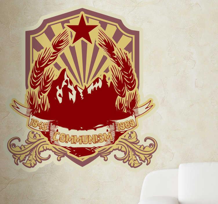 TenStickers. Naklejka dekoracyjna herb komunizmu. Naklejka dekoracyjna, która przedstawia sowiecki, komunistyczny herb. Dla wszystkich którzy tęsknią za ZSRR.