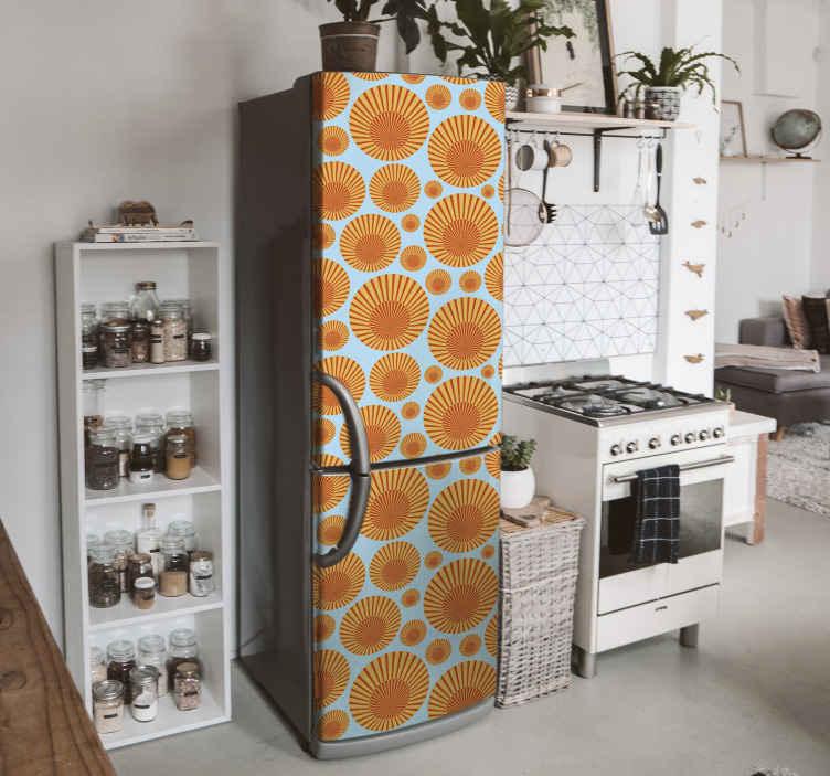 TenVinilo. Vinilo para refrigerador sol de los 70. Vinilo para refrigerador de sol de los 70 para transformar la puerta de tu frigorífico de una forma encantadora ¡Medidas personalizables!
